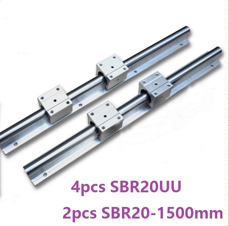 2pcs SBR20 20mm -L 1500mm support guide linear rail + 4pcs SBR20UU linear blocks CNC parts linear guide