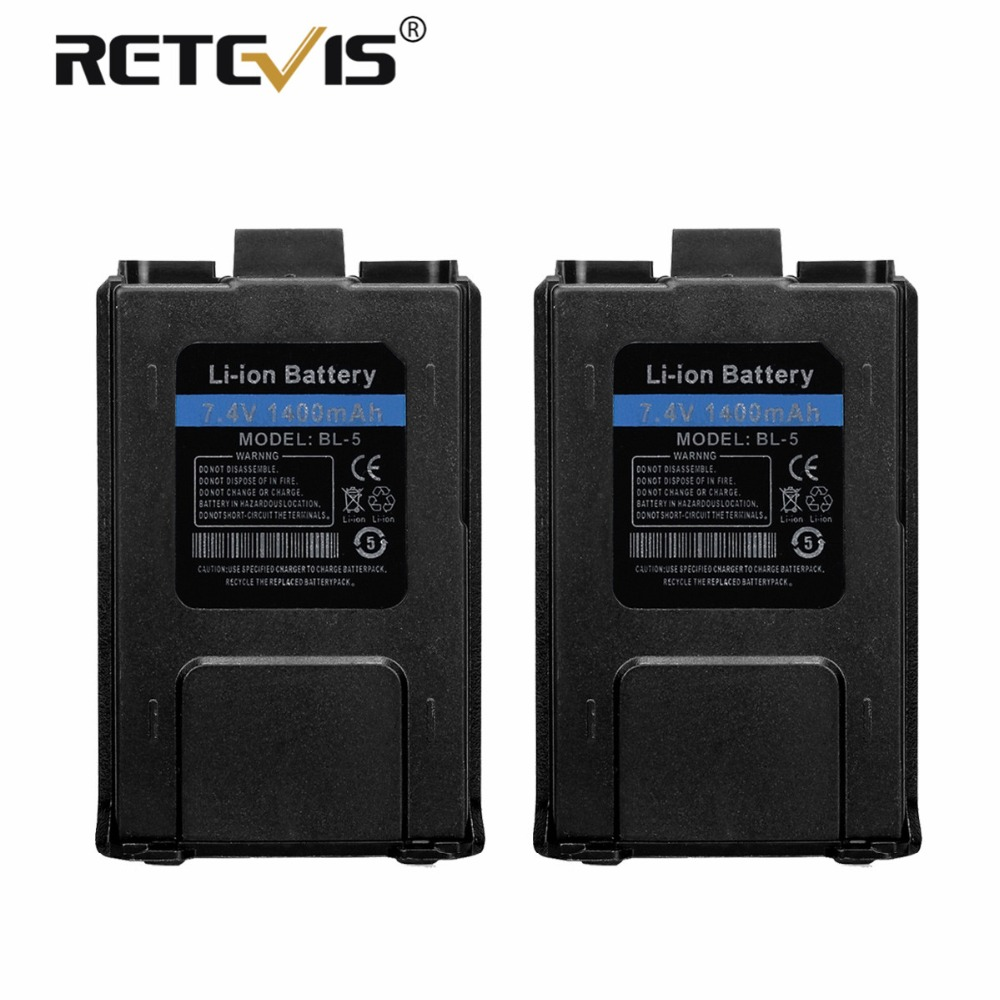 2pcs New Retevis 7.4V 1400mAh Li-ion Battery BL-5 For Baofeng UV-5R UV 5R UV5R Walkie Talkie Retevis RT-5R RT5R Accumulators