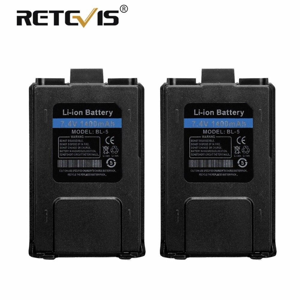 2pcs New Retevis 7.4V 1400mAh Li-ion Battery BL-5 For Baofeng UV-5R UV 5R UV5R Walkie Talkie Retevis RT-5R RT5R Accumulators