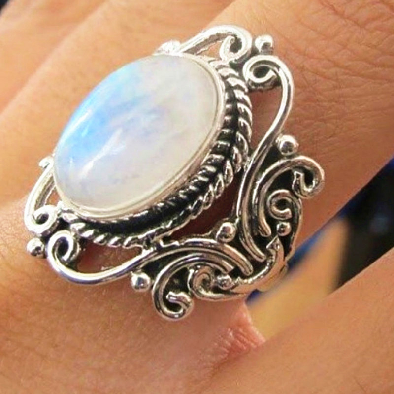 Vintage Large Oval Moonstone Rings For Women Boho Jewelry ...
