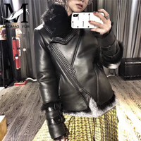 Autumn Winter Real Leather Jackets with Fur Collar Slim Fit Long Sleeve Zip up Biker Motorcycle Genuine Sheepskin Jackets