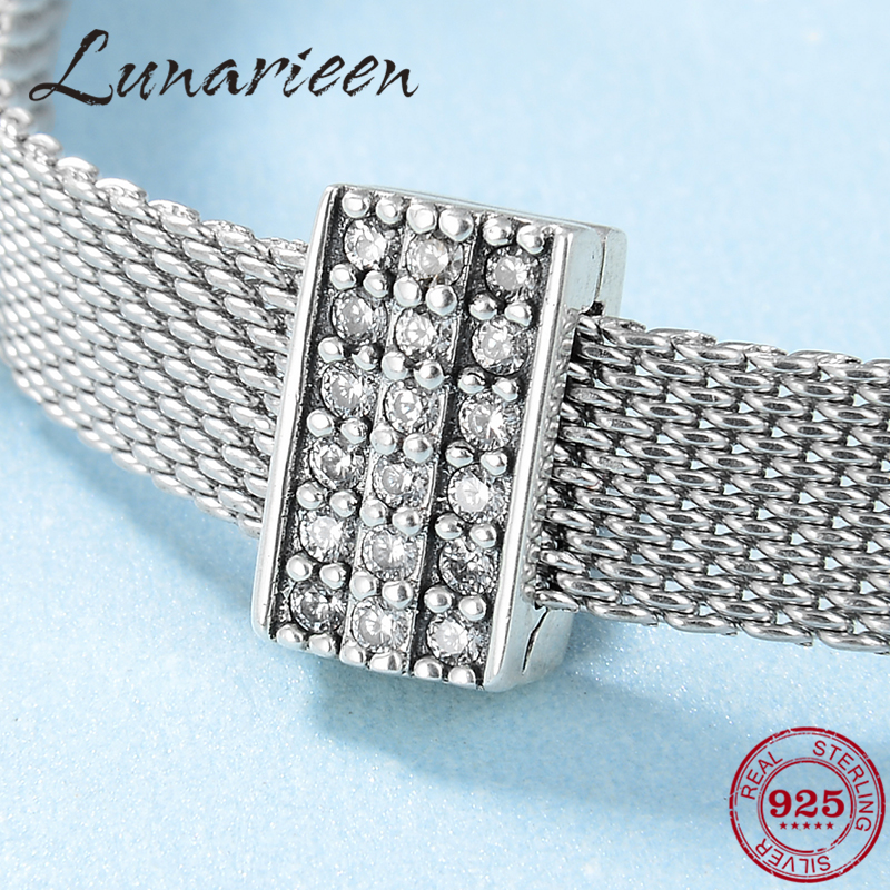 Hot Sale 925 Sterling Silver Sparkling Clear CZ Charms Clip Beads Fit Original Reflection Charm Bracelet Jewelry Making