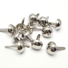 10mm Sliver Brass Round Head Cap Brads Mushroom-shaped Feet Pin Nails Clothes Puppy Patchwork Garment Bag Accessory Decoration