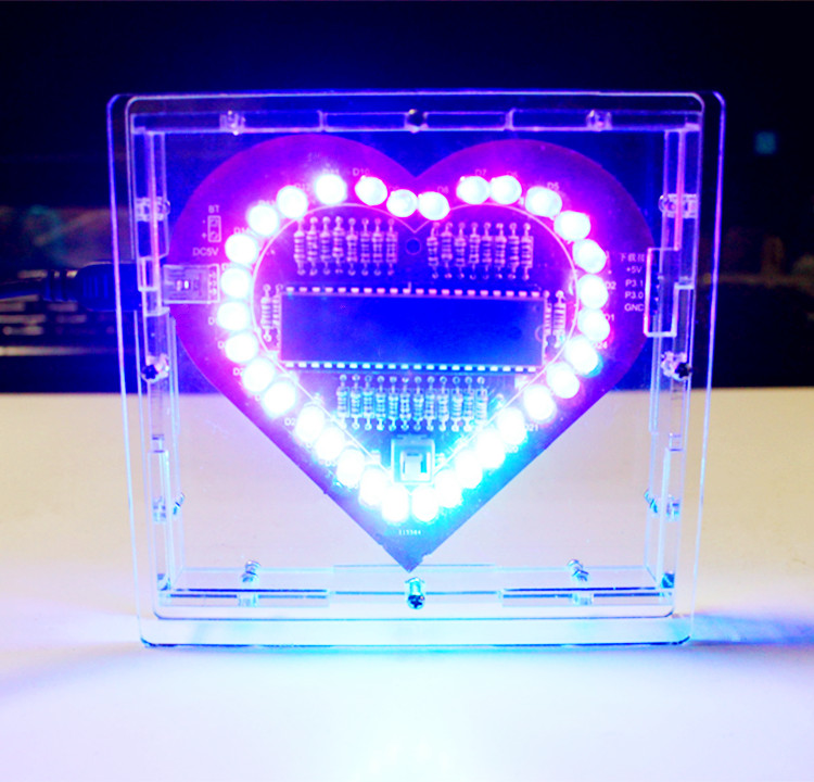 Heart Shaped Led Flashing Lights Kits Soldering Kits