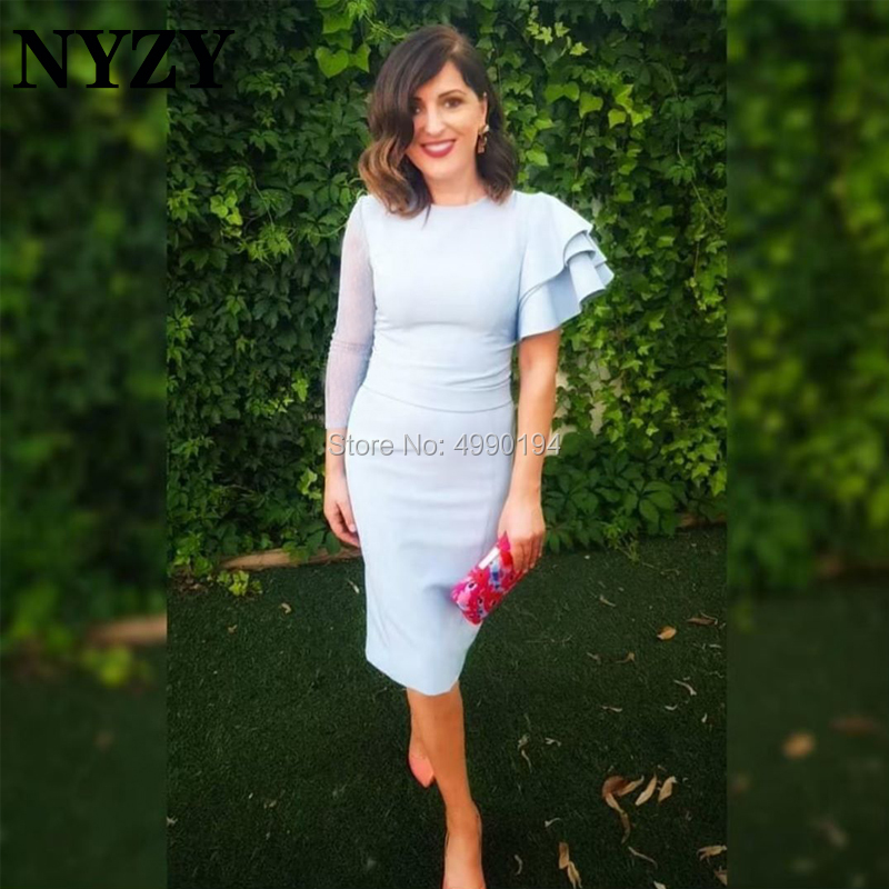 Cocktail     Dress   NYZY C203 Jersey One Long Sleeve Baby Blue Formal   Dress   for Wedding Party Homecoming Graduation
