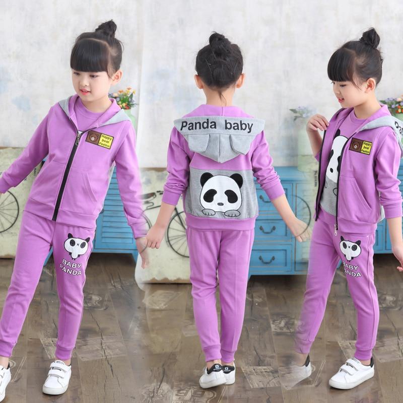Girl Autumn 3pcs Clothing Set 2018 New Children Hooded Panda Clothing Suits Girl Jacket+Shirt+Pants Spring Clothes 110-160
