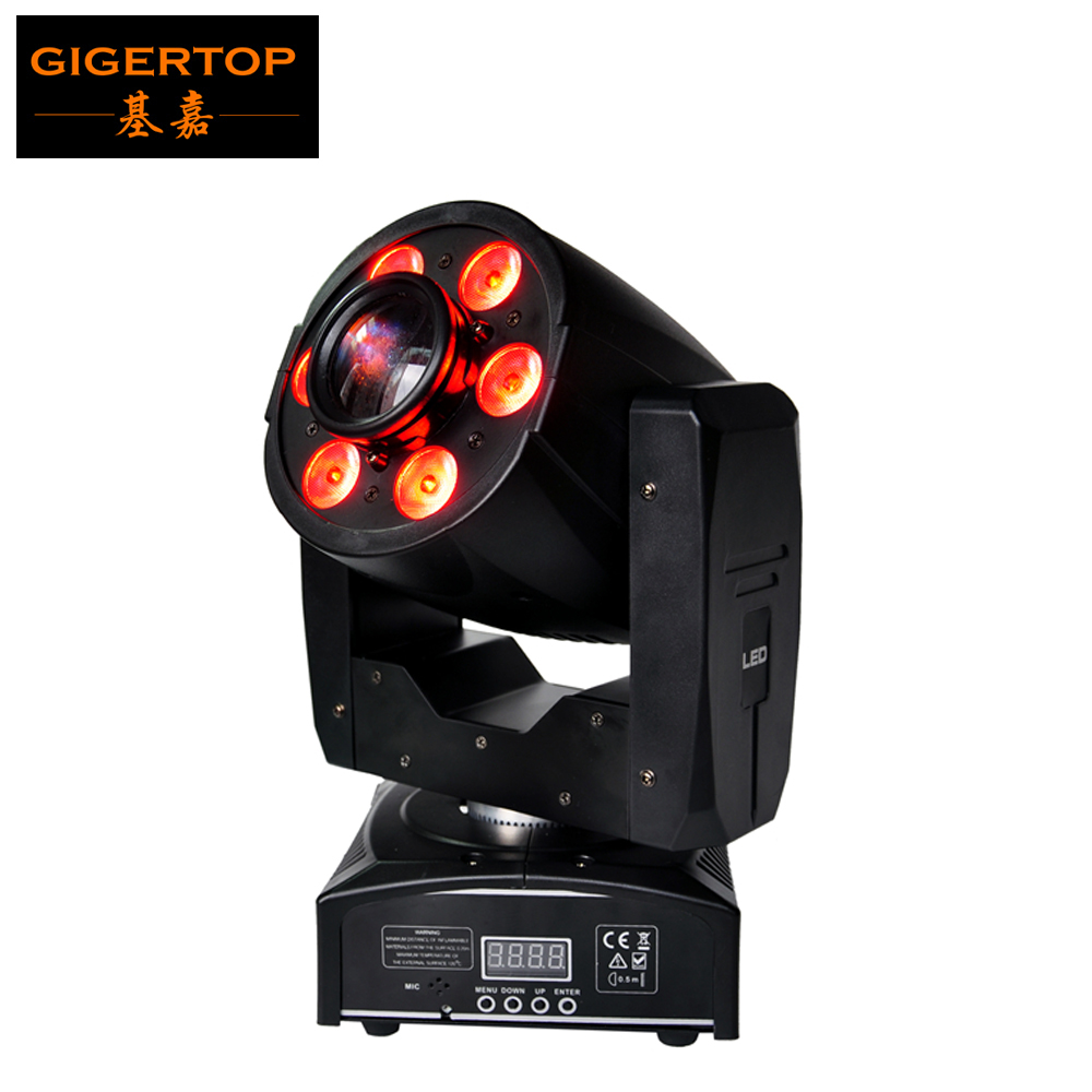 TIPTOP Stage Light 1PCS Mini Led Moving Head Zoom Light 1x30W White Color Gobo Wheel Color Wheel 6x8W RGBW 4in1 Washer 90V-240V