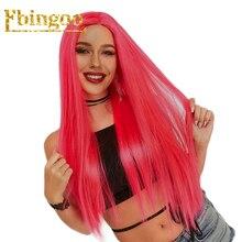 Ebingoo 26 Hot Pink Long Straight Futura Fiber Wigs Synthetic Lace Front Wig For Women Heat Resistant Pruiken
