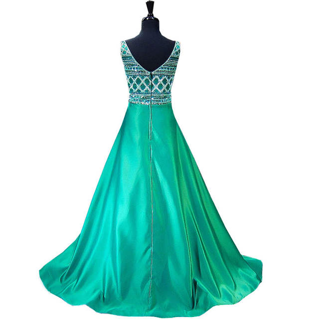 003366c766a placeholder Long Prom Dresses 2018 Stunning Beaded Crystals Sleeveless  Party African Satin Emerald Green Prom Dress