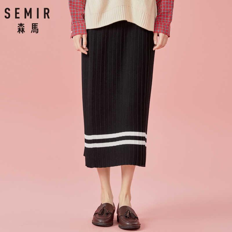 SEMIR kobiet plisowana łydki długość szwem spódnica z kontrastowym paskiem line w wysokiej talii ściągacz w pasie kobiet spódnica