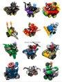 Bloques de construcción 12 Unids Super Heroes Avengers Figuras Batman Joker Motocicleta Nave Espacial Guerra Coche Ladrillos Figuras