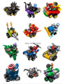 Building Blocks 12Pcs Super Heroes Avengers Figures Batman Joker Motorcycle Spaceship War Car Bricks Figures