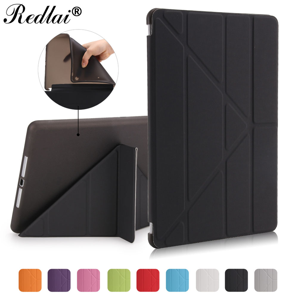 For New iPad 9.7 Model A1822 Sleeve Redlai TPU Flexible Silicone Soft Back+Ultra Thin Multi-Stand PU Leather Case For iPad 2017 for ipad mini4 cover high quality soft tpu rubber back case for ipad mini 4 silicone back cover semi transparent case shell skin