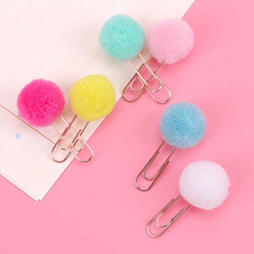 3PCS Metal Material Hairball Rose Gold Paper Clips Kawaii Bookmark Office School Stationery Marking Clips