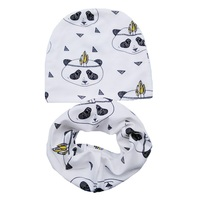 Retail And Wholesale Nice Cartoon Baby Hat Children Cotton Scarf Collar Autumn Winter Infant Hats Set