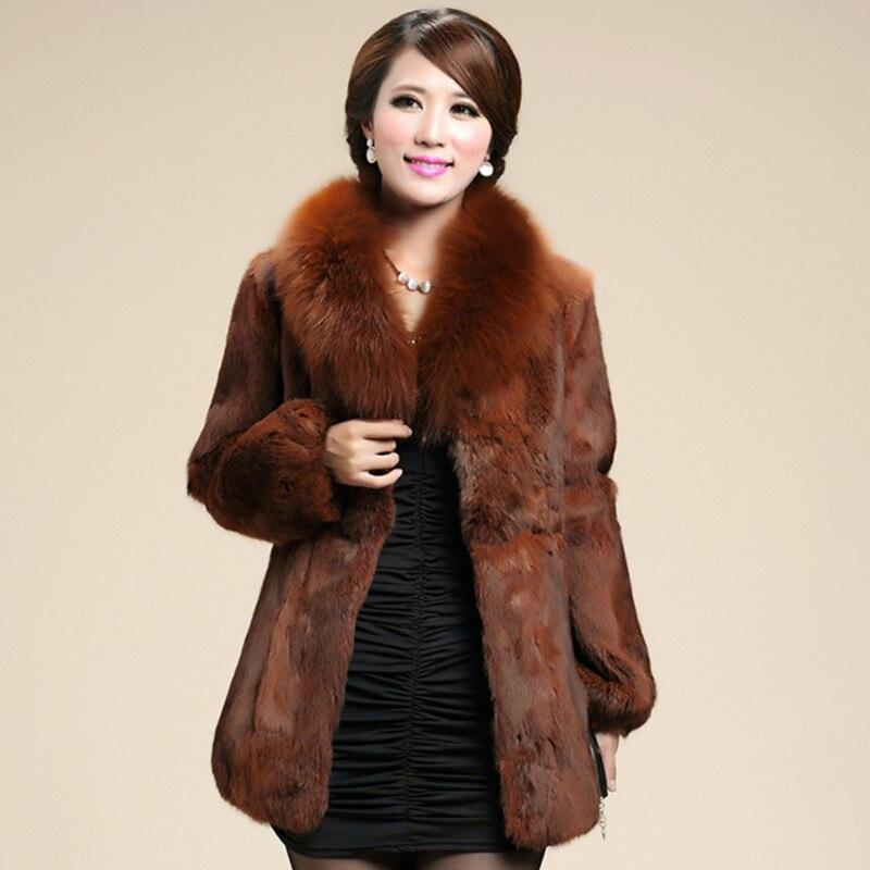 Hiver femmes véritable manteau de fourrure de lapin avec col en fourrure de renard femelle mince manteaux pour vêtements de dessus vêtement VK1206