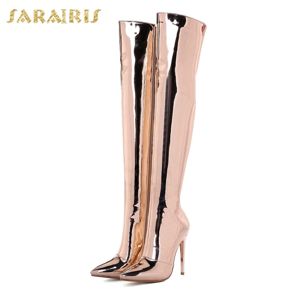 33 Sur Haute rose Fur Mode 43 Zip silver With Without Fur Up Mince Chaussures Rosegold Gold 2018 Sexy Boot Taille lagenou Nouvelle Talons Bottes Qualité Fur Sarairis Femme Grande QChtdrBosx