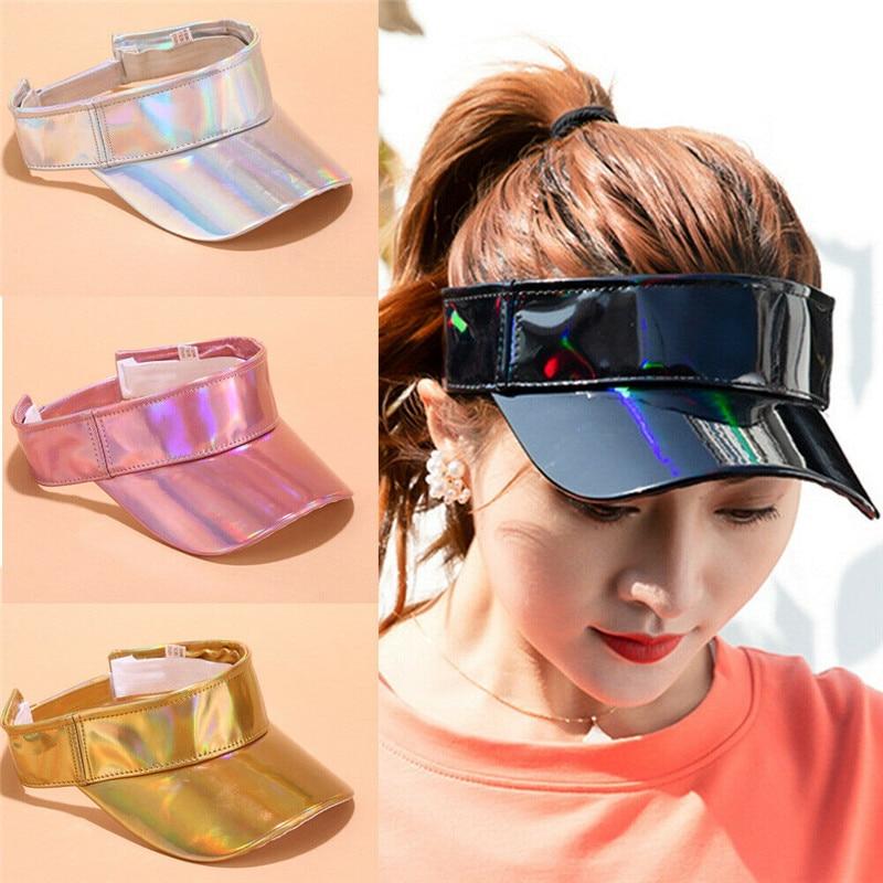 Summer Women Men Unisex Laser Cap Visors Hats Outdoor Travel Girls Solid Color Sports Beach Hat Adjustable Women Visor Cap