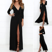 FREE SHIPPING !! Deep V Neck Long Sleeve Sexy High Split Dress JKP973