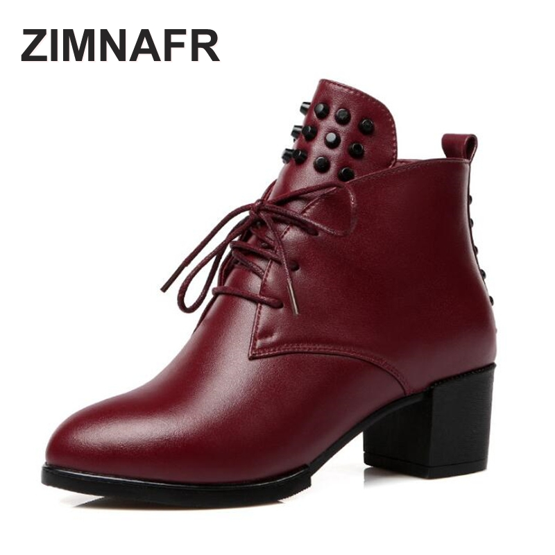 ZIMNAFR BRAND 2017 NEW WOMEN GENUINE LEATHER BOOTS RIVET MARTIN BOOTS  AUTUMN BOOTS WOMEN  WINTER BOOTS PLUS SIZE 35 -43 2017 new anti slip women winter martin
