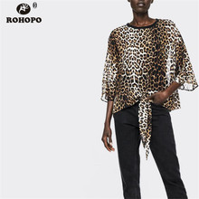 ROHOPO Half Sleeve Leopard Blouse O Neck Tie Hem Chic Female Pullover Loose Straight Top Blouse Shirt #OYK8750