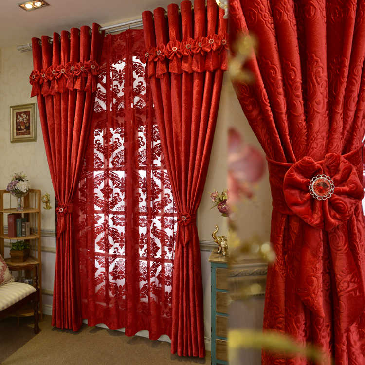 Brand New Custom Made Luxury Italian Wool Curtains Living Room Red Curtains Joyous Wedding Eco-Friendly Flocked Curtains Fabrics
