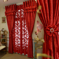 Brand New Custom Made Luxury Italian Wool Curtains Living Room Red Curtains Joyous Wedding Eco Friendly Flocked Curtains Fabrics