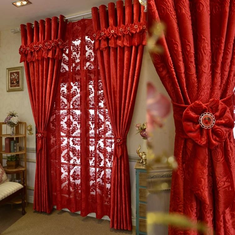 nouvelle marque sur mesure de luxe italien laine rideaux salon rouge rideaux joyeux mariage ecologique floque rideaux tissus