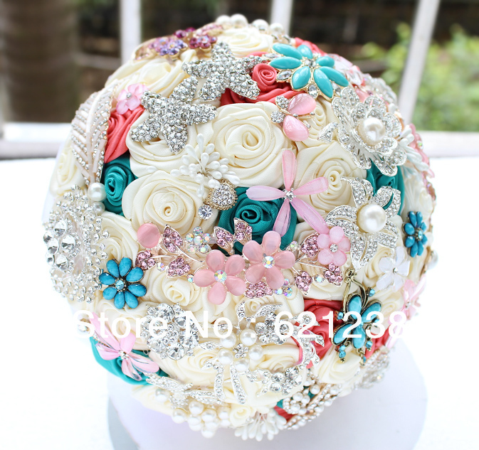 EMS Free Shipping,The most beautiful bride holding flowers, handmade ...