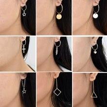 5d96c8ce77cc Chadestinty Color oro y plata pendientes Cruz hoja corazón cuadrado  triángulo redondo pendientes para las mujeres joyería Simple