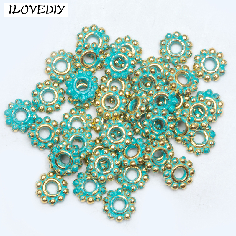 Beads Beads & Jewelry Making 100/1000pcs Tibetan Silver Flower Spacer Beads Vintage Green And Gold Round Metal Wheel Beads 4mm/6mm