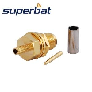 Image 2 - Superbat 10pcs RP SMA Crimp Female Jack(male pin) Bulkhead Medium RF Coaxial Connector for Cable RG174 RG 188A LMR100 RG316