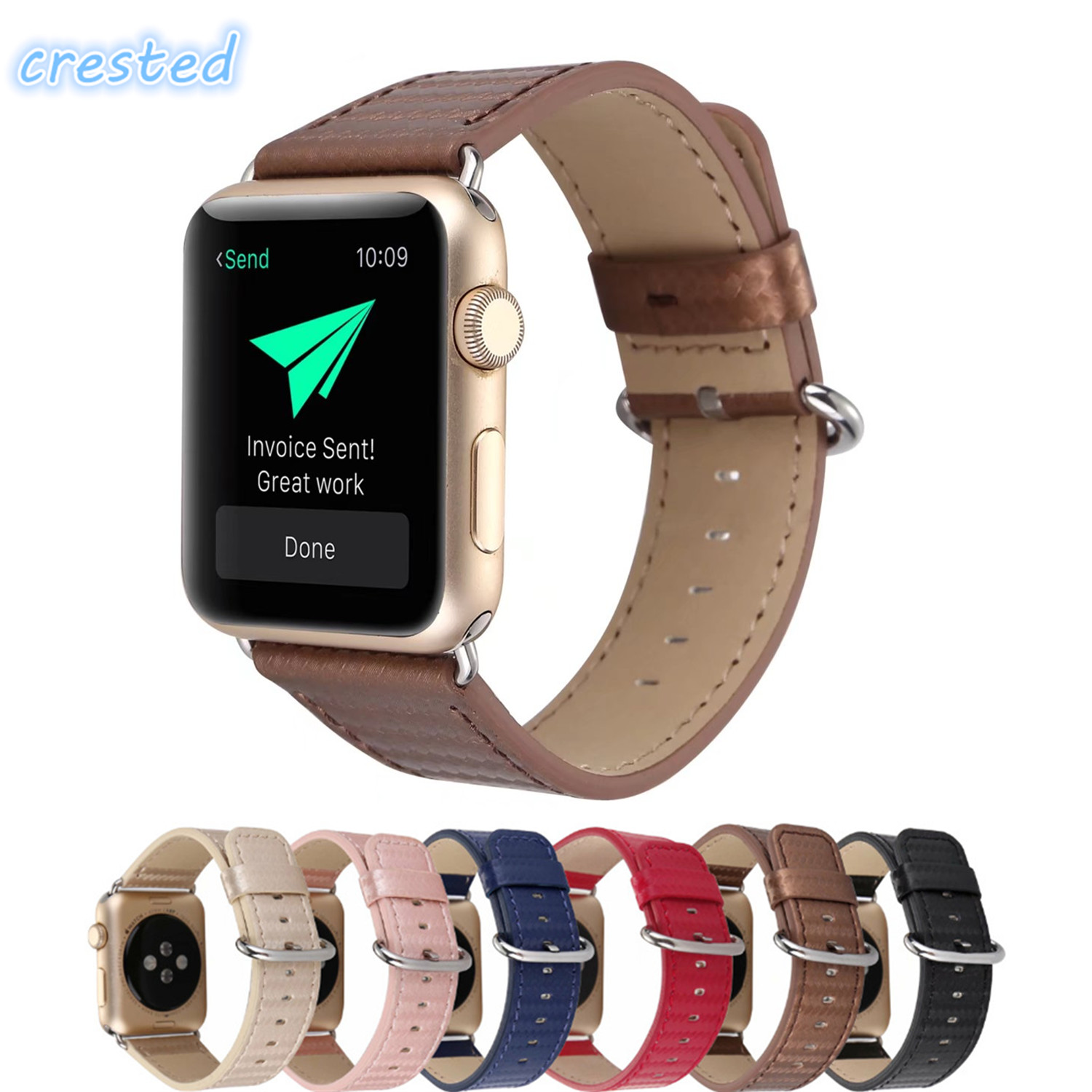 CRESTED carbon fiber leather band for apple watch band 42mm 38mm wrist bracelet watchband for iwatch