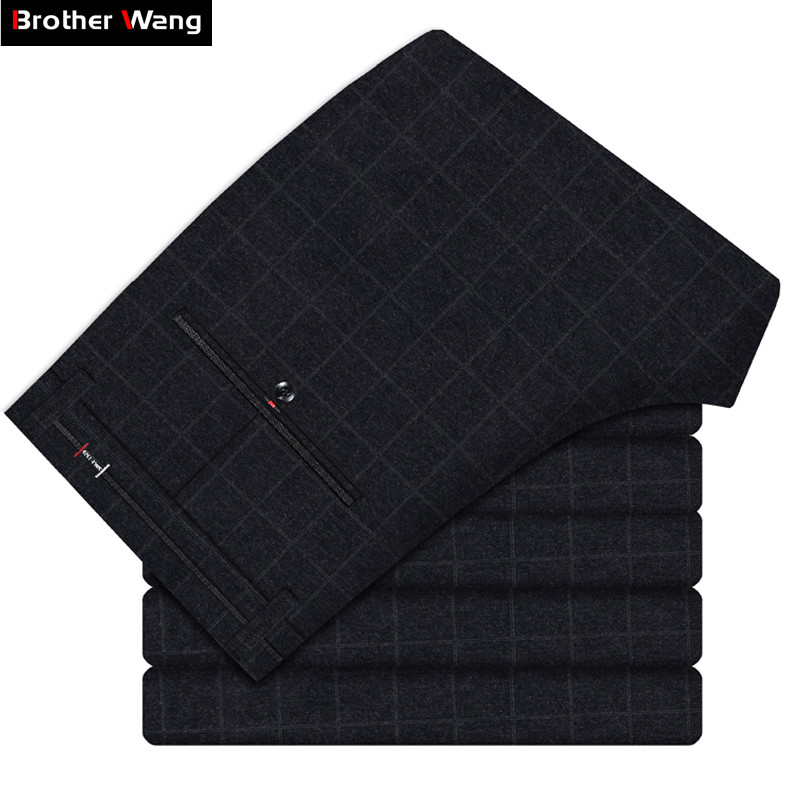 2019 Spring New Men's Plaid Casual Pants Business Fashion Slim Stretch Male Skinny Trousers Brand Clothes Black Blue