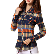 2017 Hot Sale Autumn Winter Ladies Female Casual Cotton Lapel Long-Sleeve Plaid Shirt Women Slim Outerwear Blouse Tops Clothing