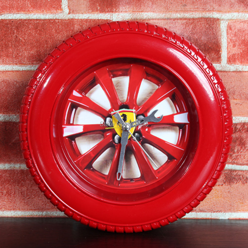 Classic Red Car Tyre Shape 3d Wall Clocks Modern Design Wall Clock