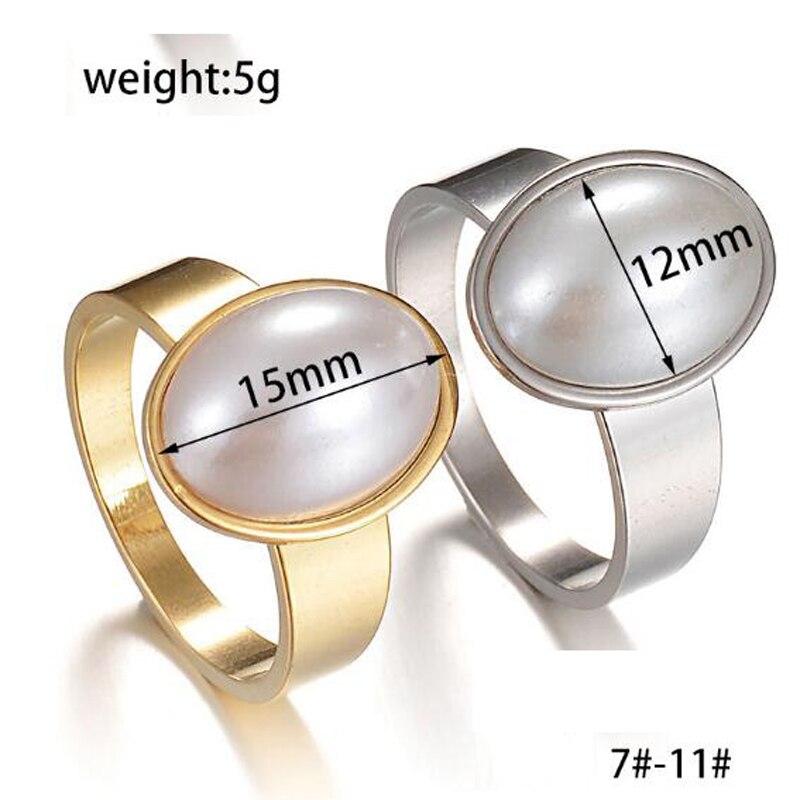 Xuben Pearl ring female vacuum plating gold stainless steel