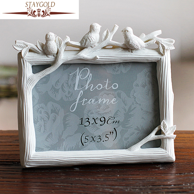 STAYGOLD Vintage Picture Frames Retro White Frame Bird Style Resin ...