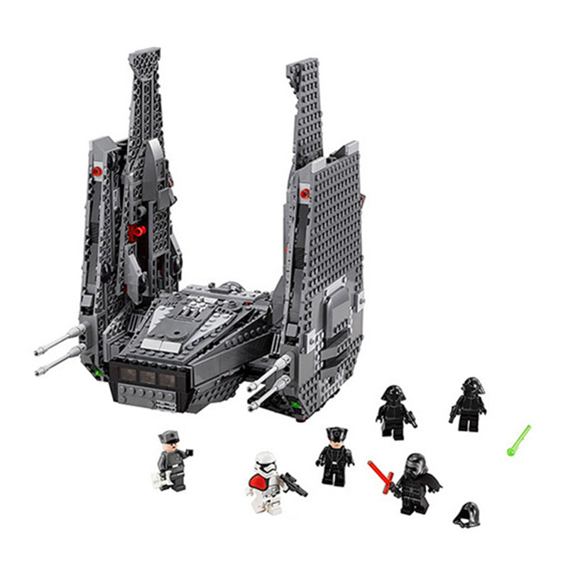 ФОТО LEPIN 05006 1053Pcs Star Wars Force Awakens Kylo Ren's Command Shuttle Model Building Kits Blocks Bricks 75104 Boy Toys Gift B73