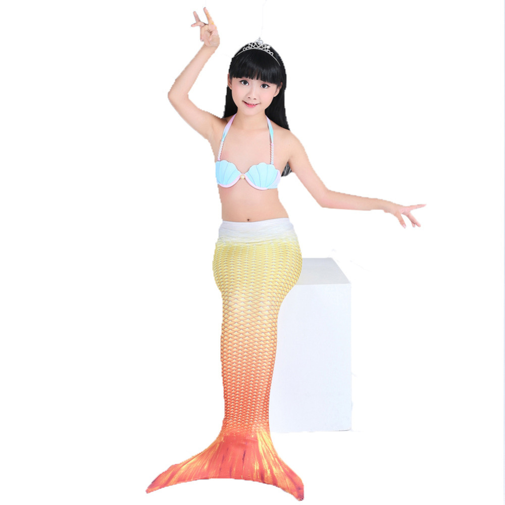 Mermaid Tail with Monofin Flipper Bikini Swimmable Mermaid Tail for Girls Children Costome Cosplay kids mermaid tail with monofin swimmable filpper costume for girls lady mermaid tails cosplay the little mermaid child clothes