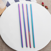 4PCS/Pack Colorful Stainless Steel Drinking Straws Straight and Bent Reusable Filter With Brush DIY Tea Coffee Tools