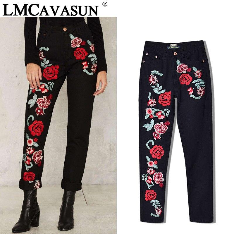 LMCAVASUN Plus Size Rose Embroidery Black Women   Jeans   2017 Spring Vintage Straight Loose Denim Pants Trouses Mom   Jeans