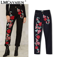 LMCAVASUN Plus Size Rose Embroidery Black Women Jeans 2017 Spring Vintage Straight Loose Denim Pants Trouses Mom Jeans