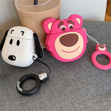 For AirPods Case Cute Cartoon Bear Dog Earphone Cases Apple Airpods 2 Funny Protective Cover with Finger Ring Strap