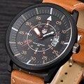 Espléndida Nueva lista de Los Hombres Marca de relojes de Lujo Relojes correa de Cuero Reloj de Cuarzo Reloj Barato Deportes Fecha reloj relogio masculino