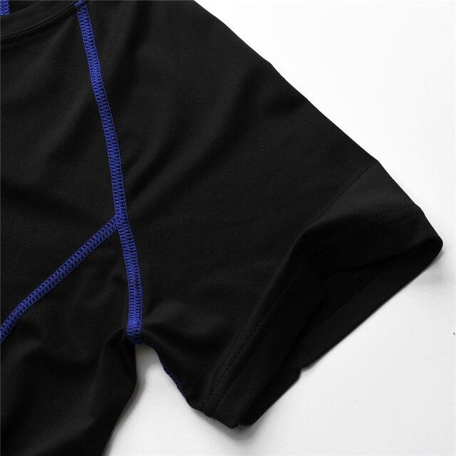 Men Sport Fitness Bodybuilding Gym T Shirt Men Lycra Compression Tights Running Basketball Crossfit Under Tee Tops Plus Size