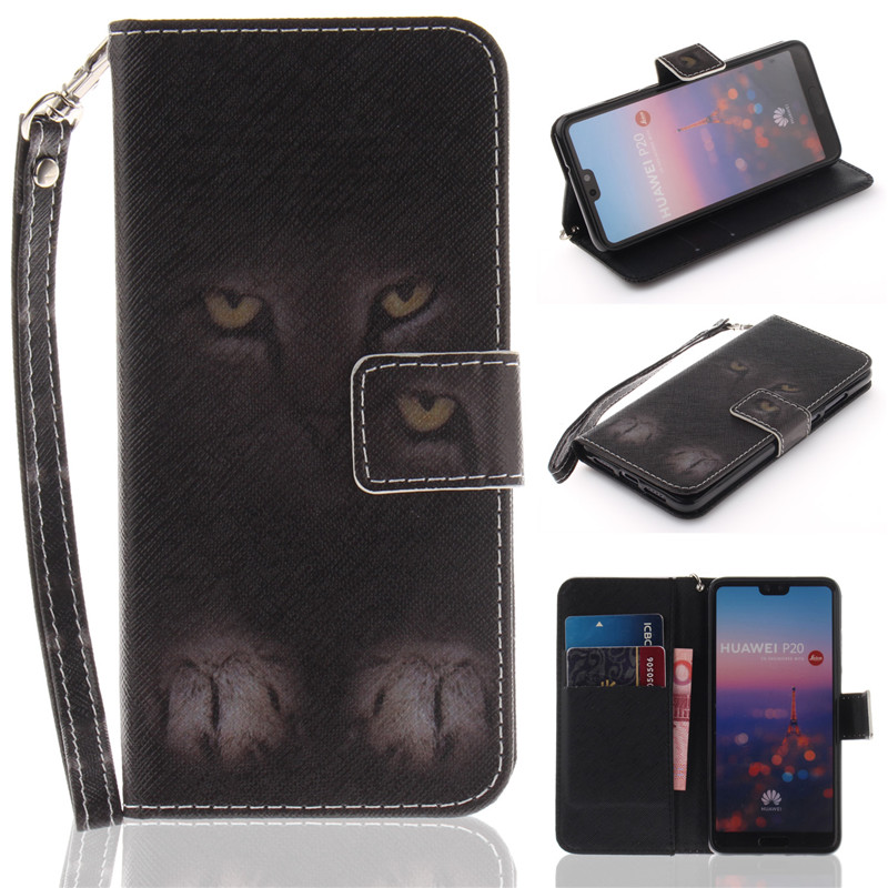 Flip Wallet Case For Huawei P20 Cases Coque Animal Wolf Owl Tiger Lion Painted PU Leather Phone bags accessories Cover