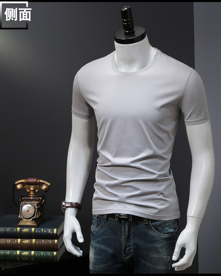 T-shirts Solid Color Man Casual camiseta homme t shirts Male Top Tees Summer (5)