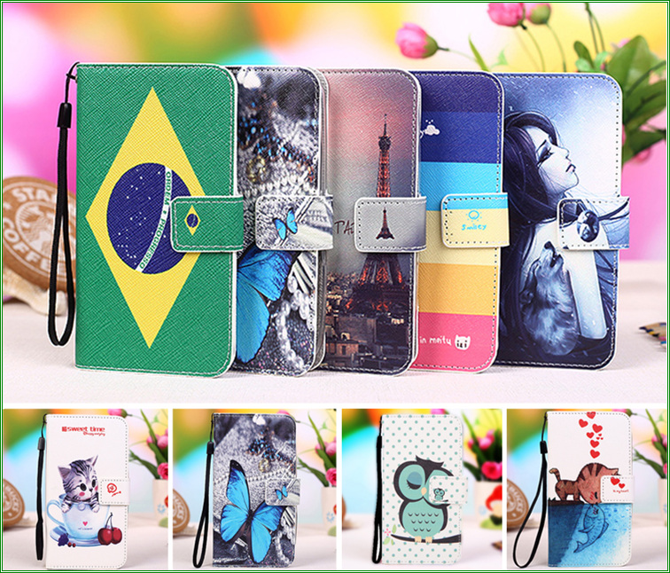 New Cartoon Painting PU Leather Cases For Fly IQ436 Era Nano 3 Wallet Style With Card Slot Phone Cover Case Tracking number