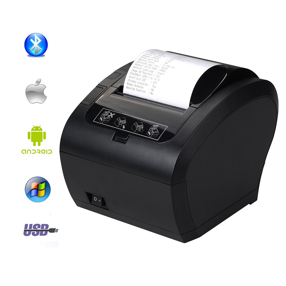 Wholesale 80mm thermal Bluetooth printer receipt Small ticket barcode Logo POS printer With automatic paper cutter